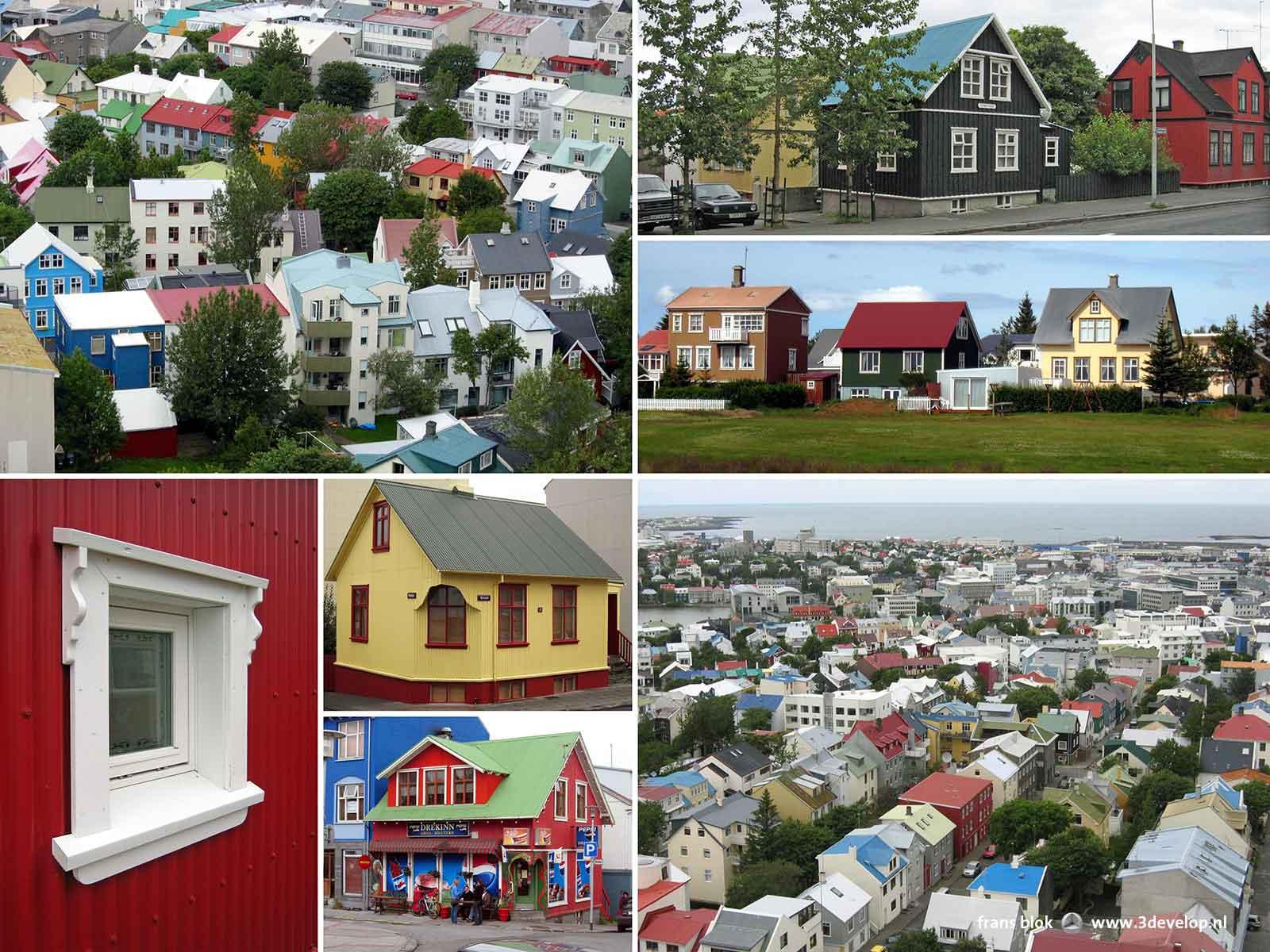 Collage van foto's gemaakt in Reykjavik, IJsland, die de veelkleurigheid van de met golfplaat afgewerkte huizen laten zien