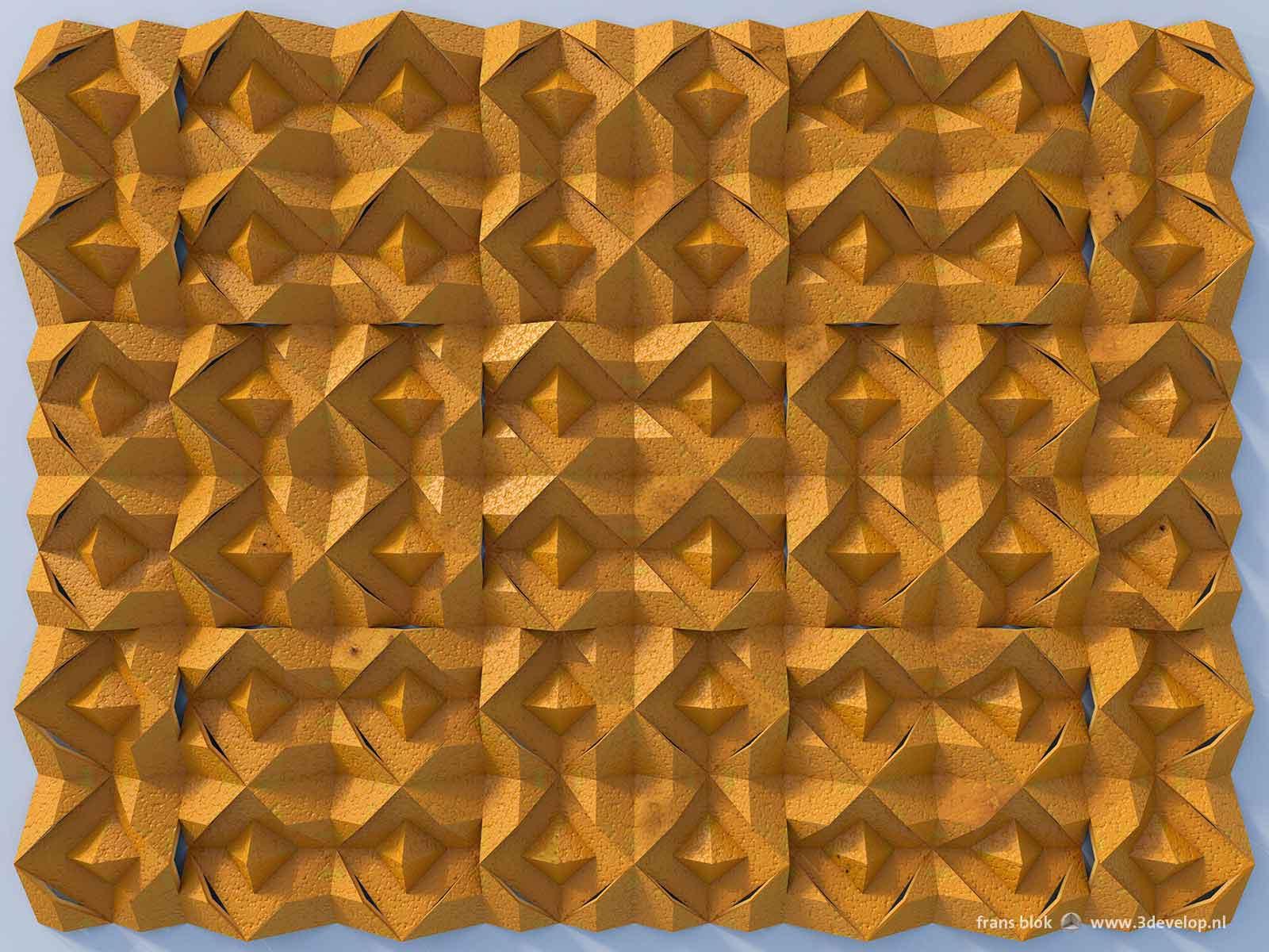 Virtueel relief in sinaasappelschillen, gemaakt met behulp van autocad, 3ds max en photoshop