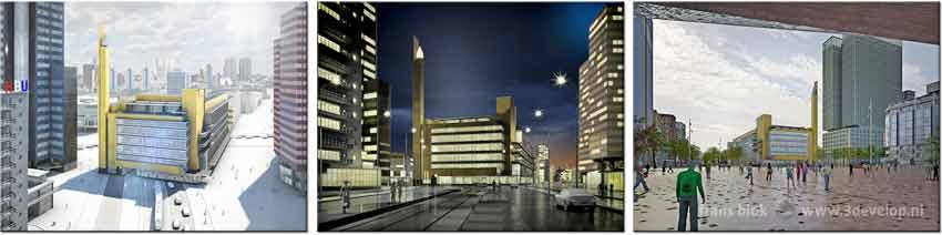 Het Bijenkorf-drieluik, gewijd aan de oude Bijenkorf van Rotterdam ontworpen door W.M.Dudok: overdag en 's nachts op de originele plek op de Coolsingel en herbouwd op het Kruisplein