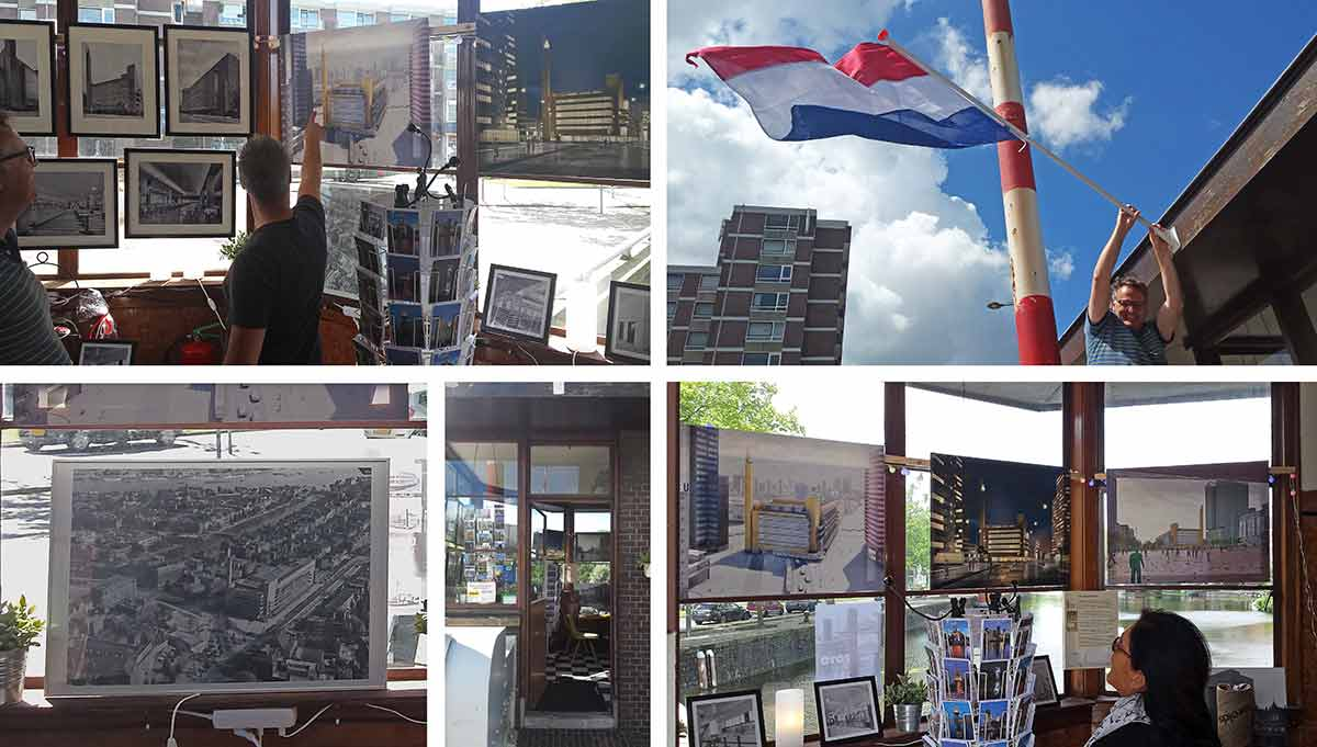 Collage van foto's gemaakt tijdens de Dudoktentoonstelling in het Oranjebrugwachtershuisje, Schiedams leukste en kleinste galerie