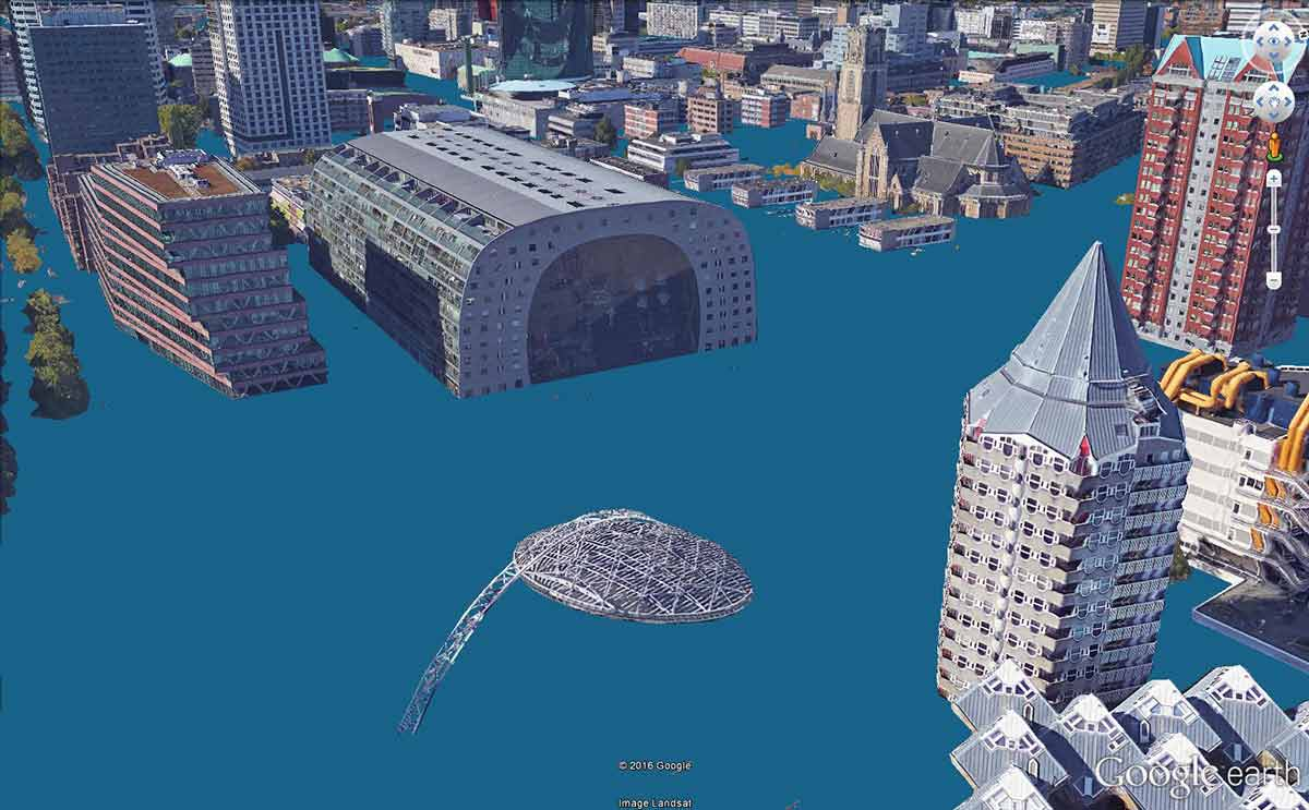 Image of the city center of Rotterdam, made in Google Earth, visualizing the vicinity of Markthal when the sea level rises ten metres