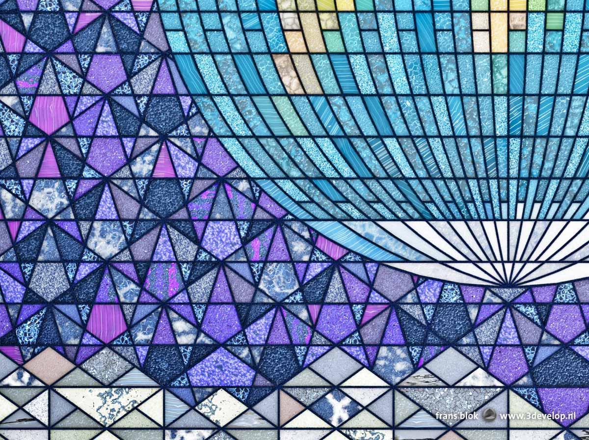 Fragment van het Earthrise-glas-in-loodraam met een stuk van het zuidelijk halfrond boven de bergen van de Maan