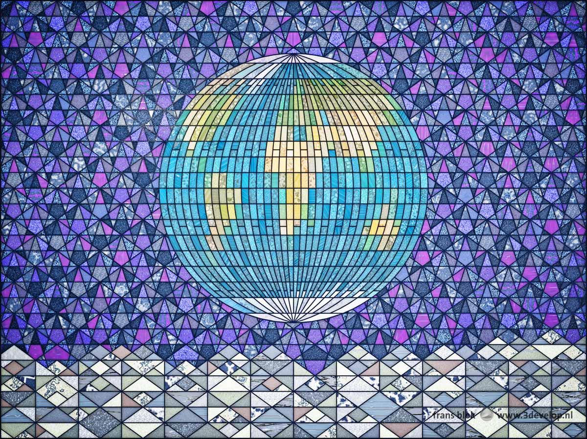 Virtueel glas-in-loodraam geinspireerd door de beroemde Earthrisefoto van de Aarde boven het desolate Maanlandschap in de leegte van het heelal