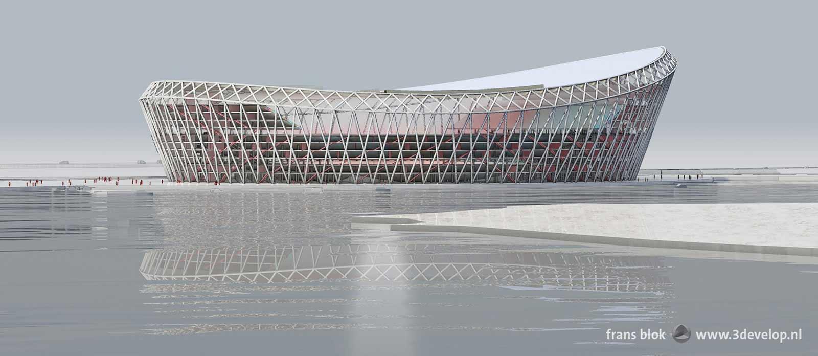 Het voorgestelde nieuwe station van Feyenoord, de Schuit. gezien vanaf de van Brienenoordbrug