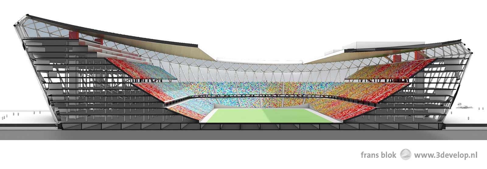 Langsdoorsnede van het voorgestelde nieuwe Feyenoordstation, de Schuit.