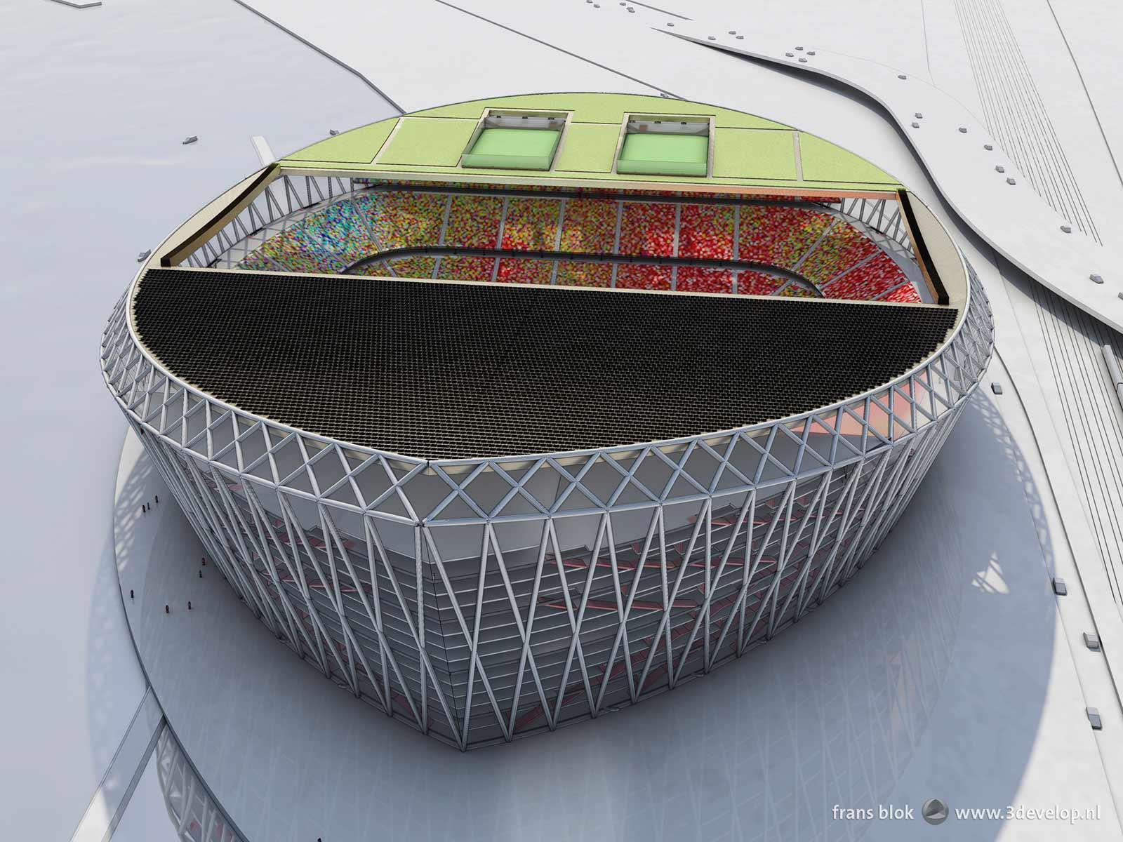 Vogelvluchtperspectief van het voorgestelde nieuwe Feyenoordstation, de Schuit, gezien vanuit noordelijke richting, met andere woorden vanuit de wijk Feijenoord
