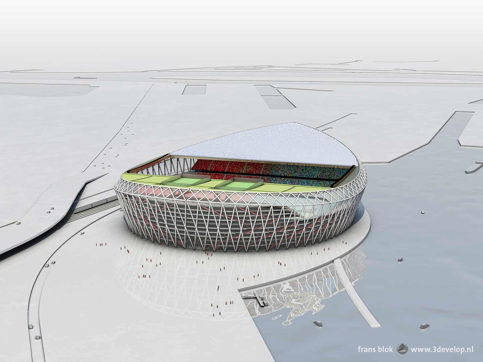Vogelvluchtperspectief van het voorgestelde nieuwe Feyenoordstation, de Schuit, gezien vanuit zuidelijke richting met de Nieuwe Maas, het Noordereiland en Rotterdam-centrum op de achtergrond.