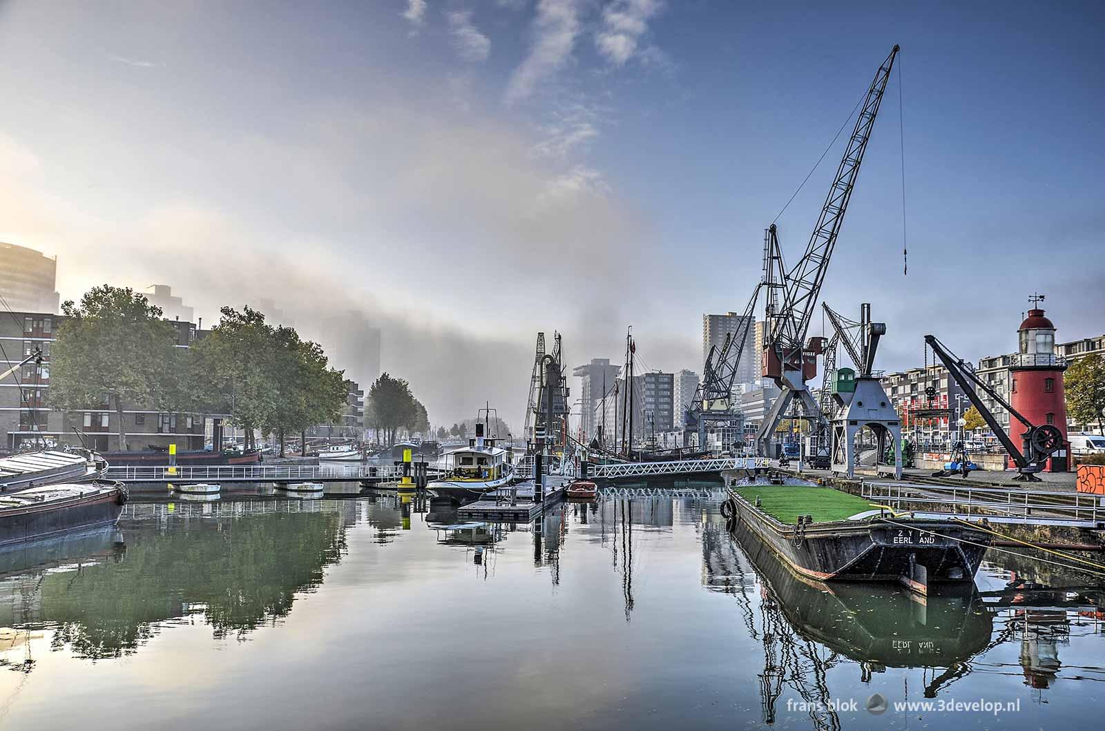 Zicht vanaf de kade bij het Maritiem Museum in Rotterdam op een mistbank die boven de Nieuwe Maas hangt.