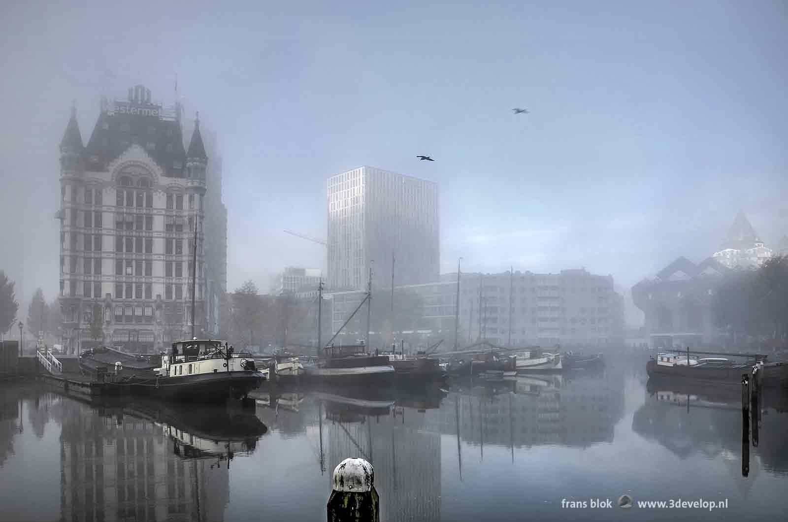 Surrealistisch beeld van de Oude Haven in Rotterdam met het Witte Huis en de Kubuswoningen op een mistige herfstdag.