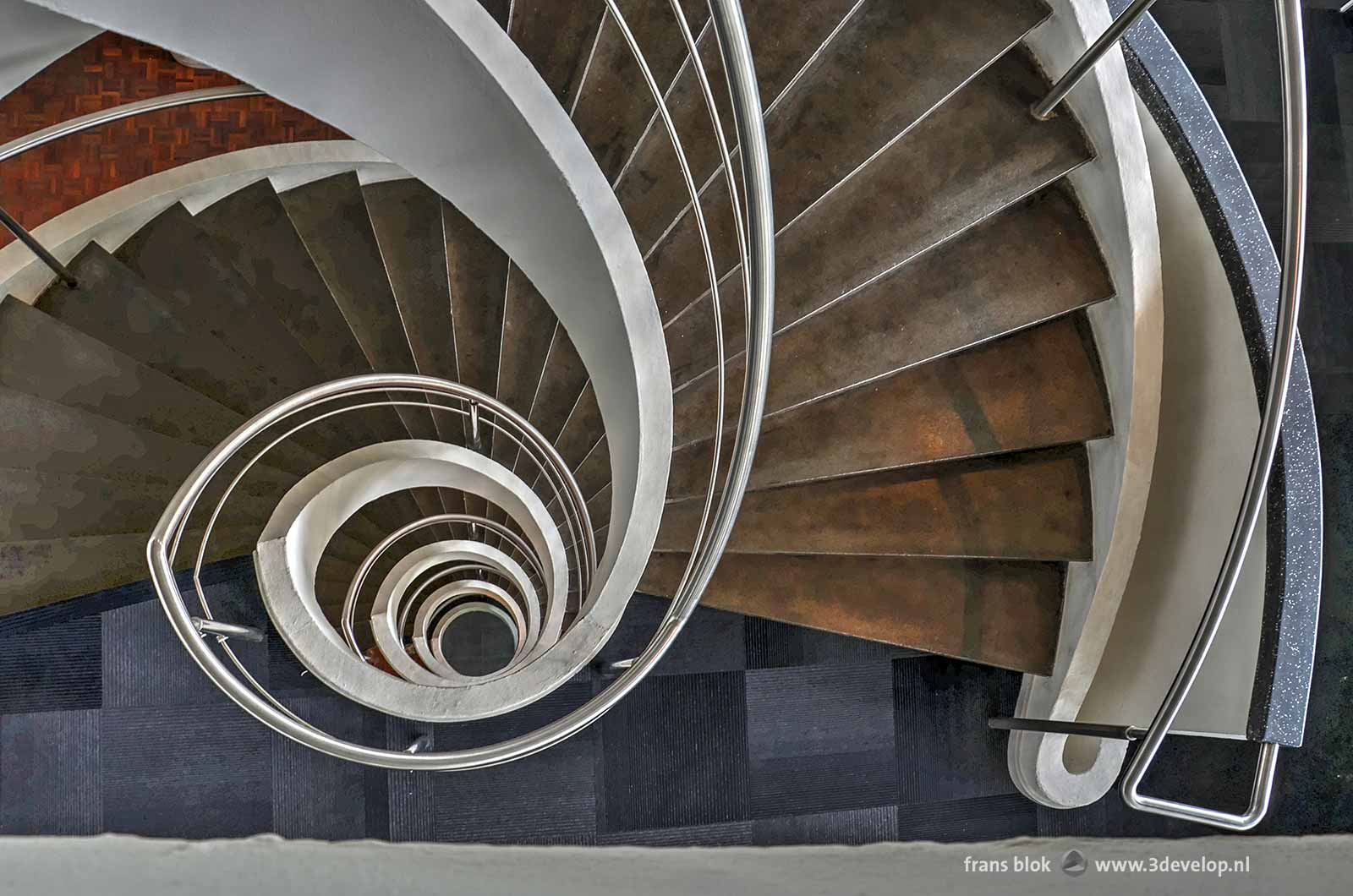 Top view of the particular spiral staircase in the building industry Goudsesingel in Rotterdam, designed by architect Maaskant.