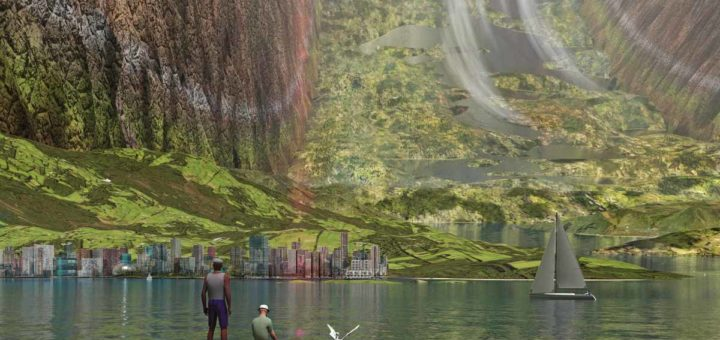 Artist impression of the interior of a giant hollow asteroid, seen from the shore of a lake, with two men on a wooden pier, looking out towards a city and the hills, lakes and cliffs beyond