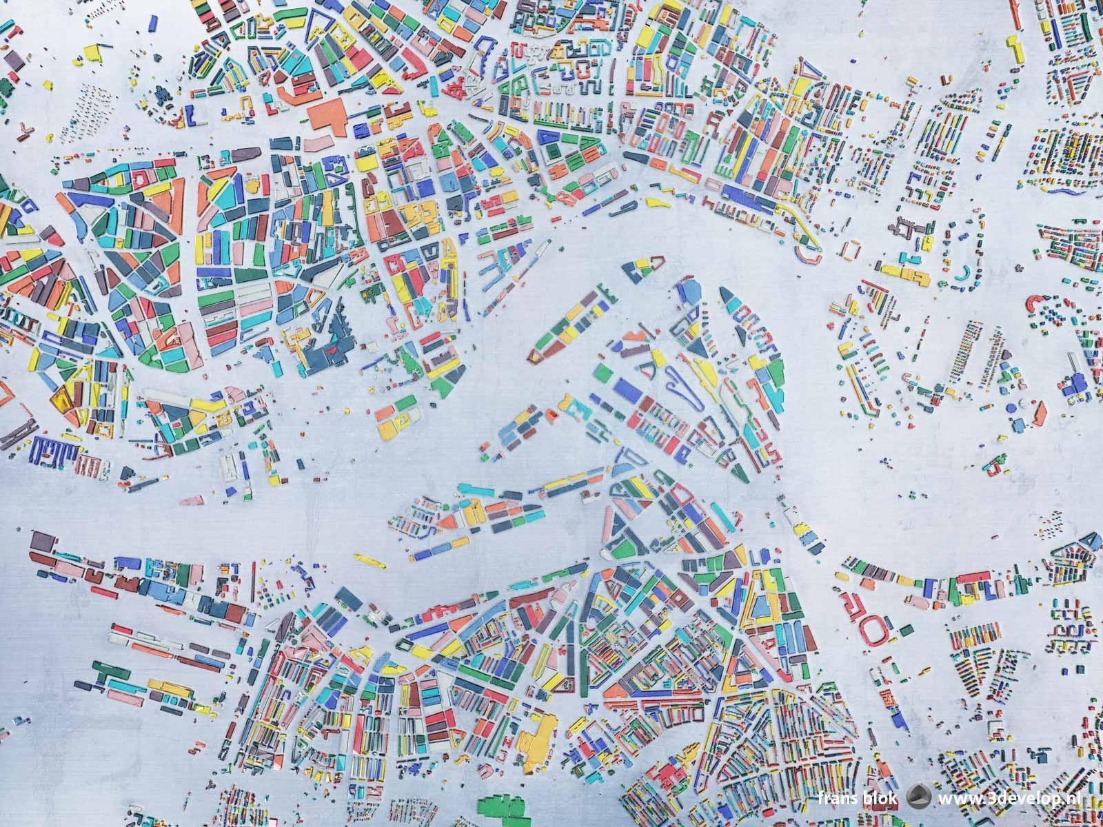 Kaart van Rotterdam binnen de Ruit, met de bouwblokken uitgevoerd als glas in vijftien verschillende kleuren