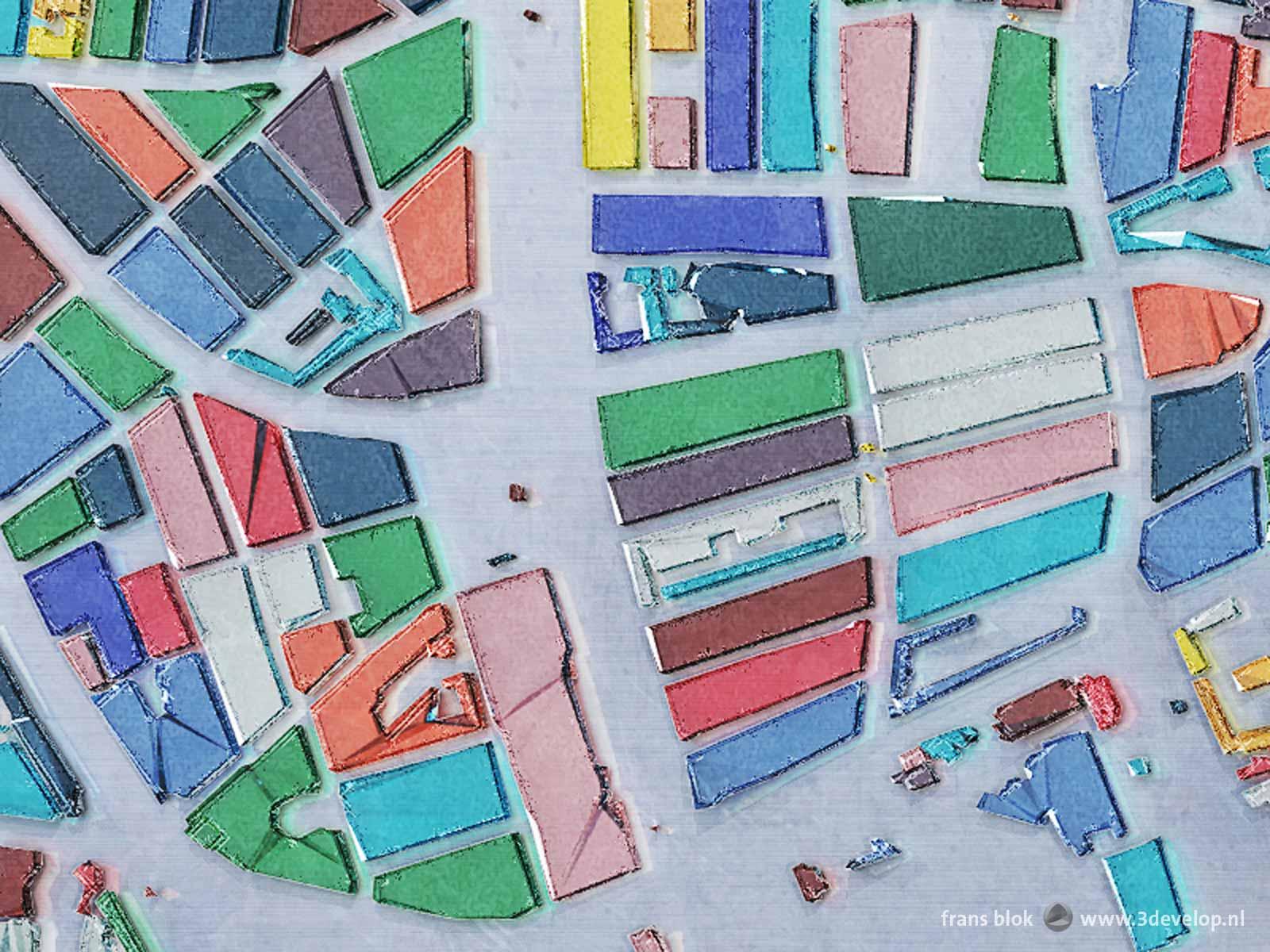Fragment van de vijftien kleuren-glaskaart van Rotterdam met het gebied rond de kruising van Westersingel en Mathenesserlaan