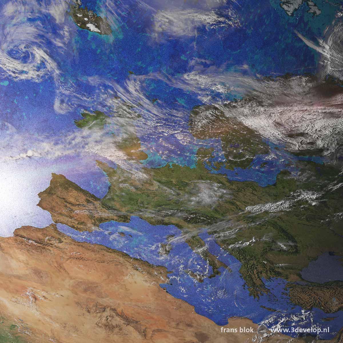 Deel van een satellietbeeld van de Aarde met Europa, Noord-Afrika en de Atlantische Oceaan.