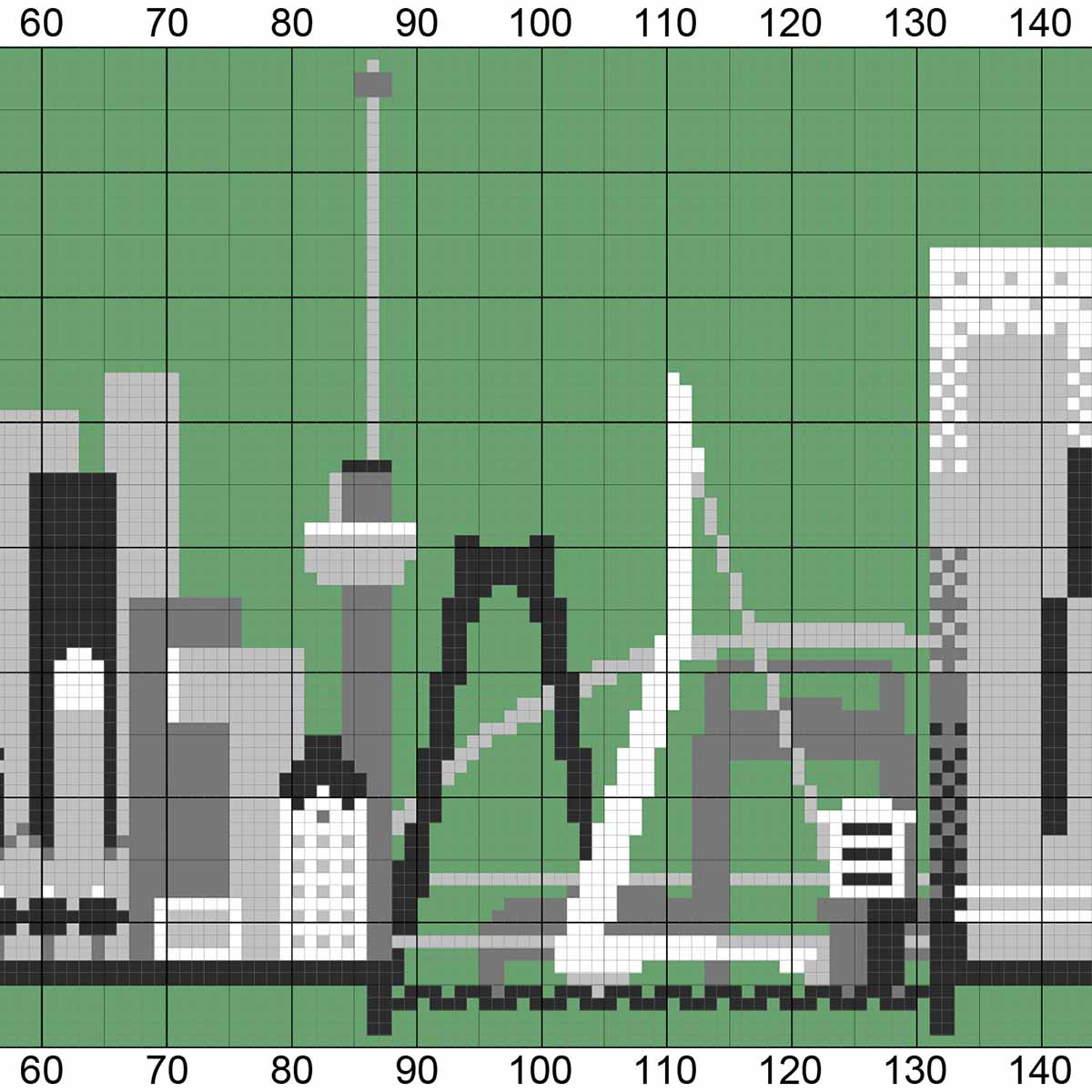 Detail van een breipatroon van de skyline van Rotterdam