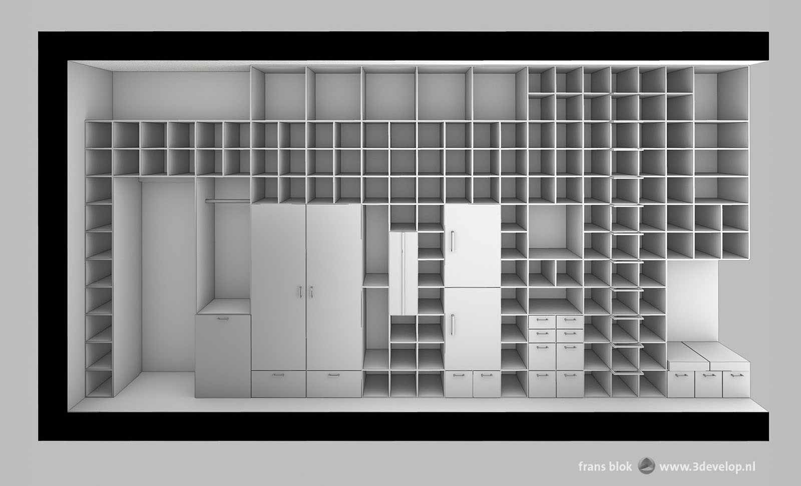 Section through a condo, a compact urban appartment, showing a large multifunctional cabinet wall