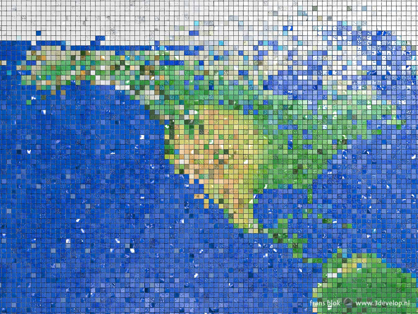 Part of a world map made of little colored mosaic tiles, with North and Central America and parts of the Atlantic and Pacific Oceans