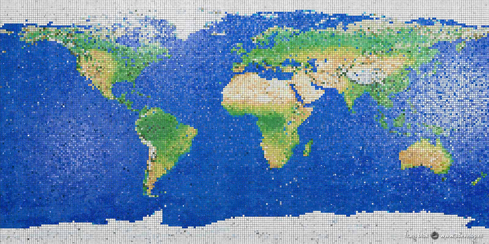 World map with 31.250 little mosaic tiles, computer-generated but indistinguishable from reality through application of shine and relief
