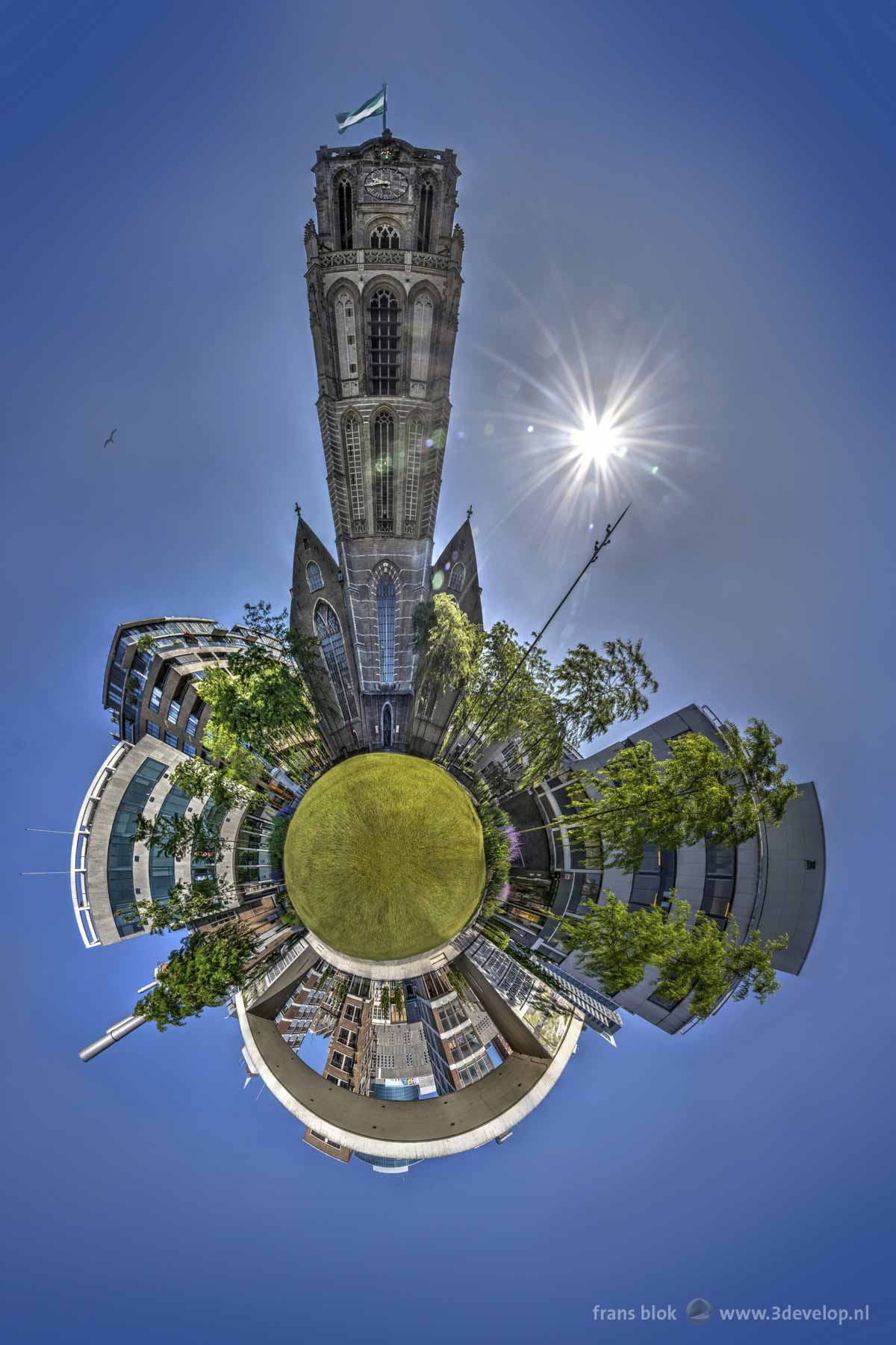 Spherical panoarama, or little planet, made of twelve photographs taken at the lawn in the little park in front of Saint Lwarence's Church in Rotterdam