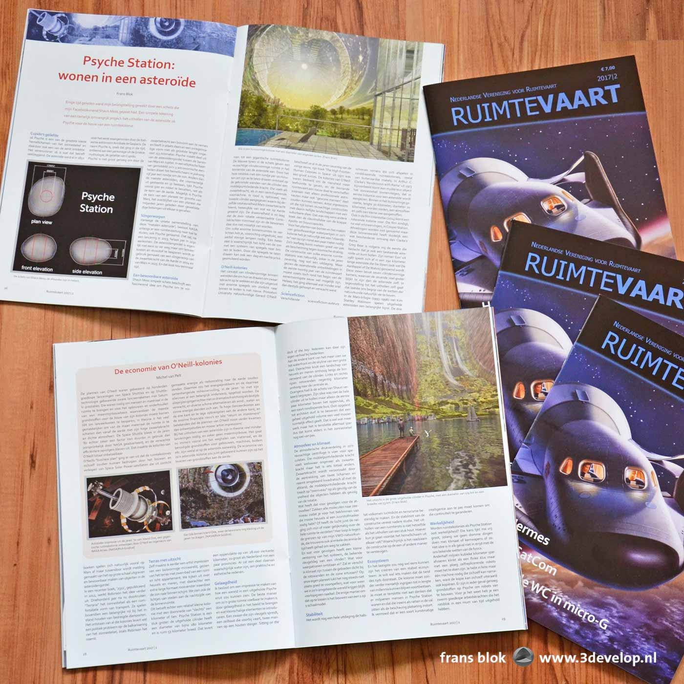 Ruimtevaart magazine, published by the Dutch Spaceflight Society, open at an article by Frans Blok about asteroid Psyche