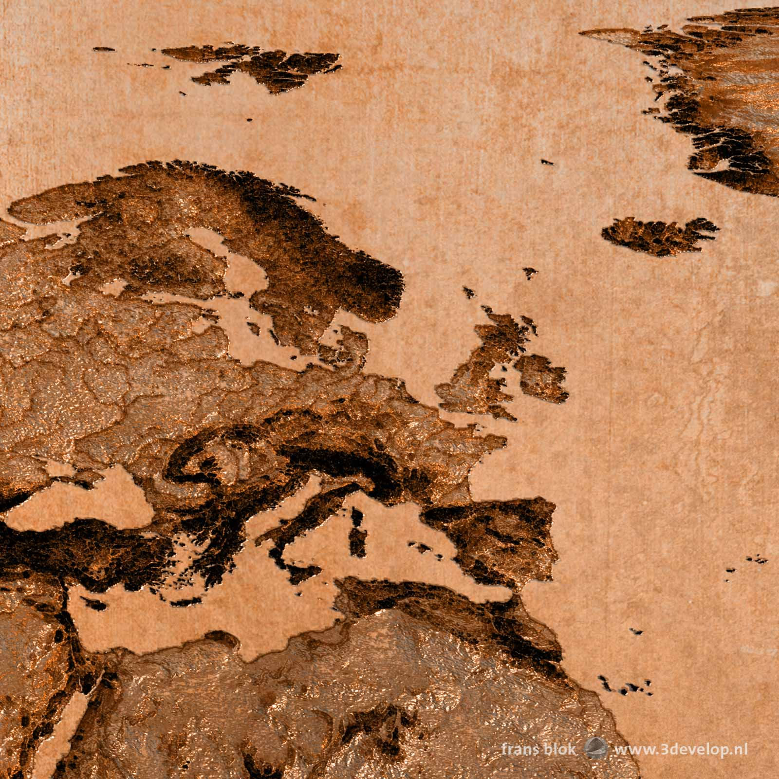 Part of a bronze mirrored world map, showing Europe, North Africa, the Mediterranean and a part of Greenland