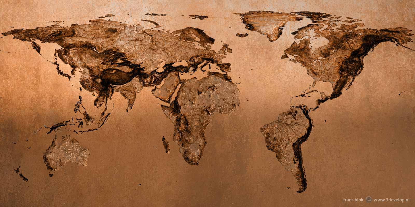 A mole's world view: a world map seen from below, mirrored, made in digital bronze