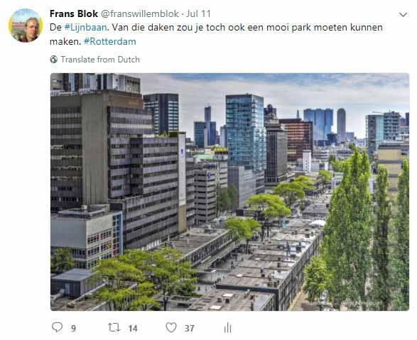 Tweet van @franswillemblok met een foto van de Lijnbaan genomen tijdens de Rotterdamse Dakendagen