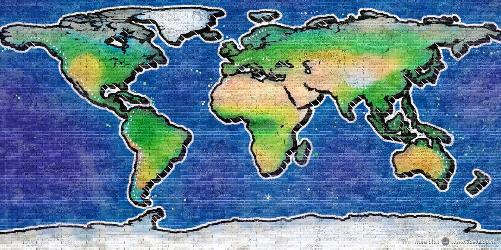 Virtual street art: graffiti world map on a digital 10 x 5 metres brick wall, created in Photoshop