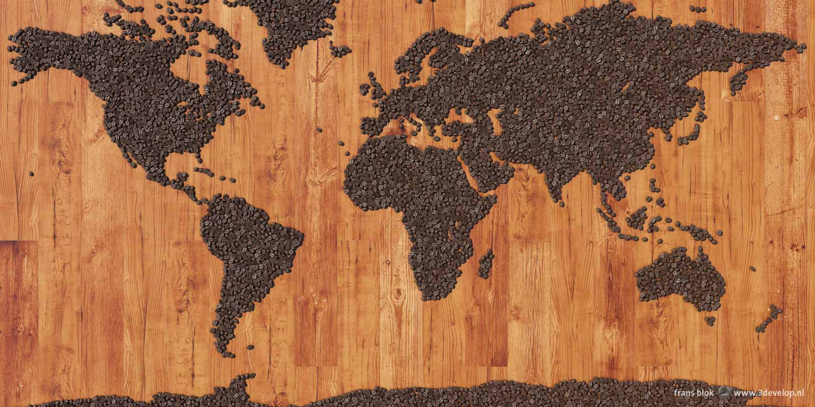 World map of thousands of digital coffee beans on a virtual wooden table top, made with Autocad, 3ds Max and Photoshop