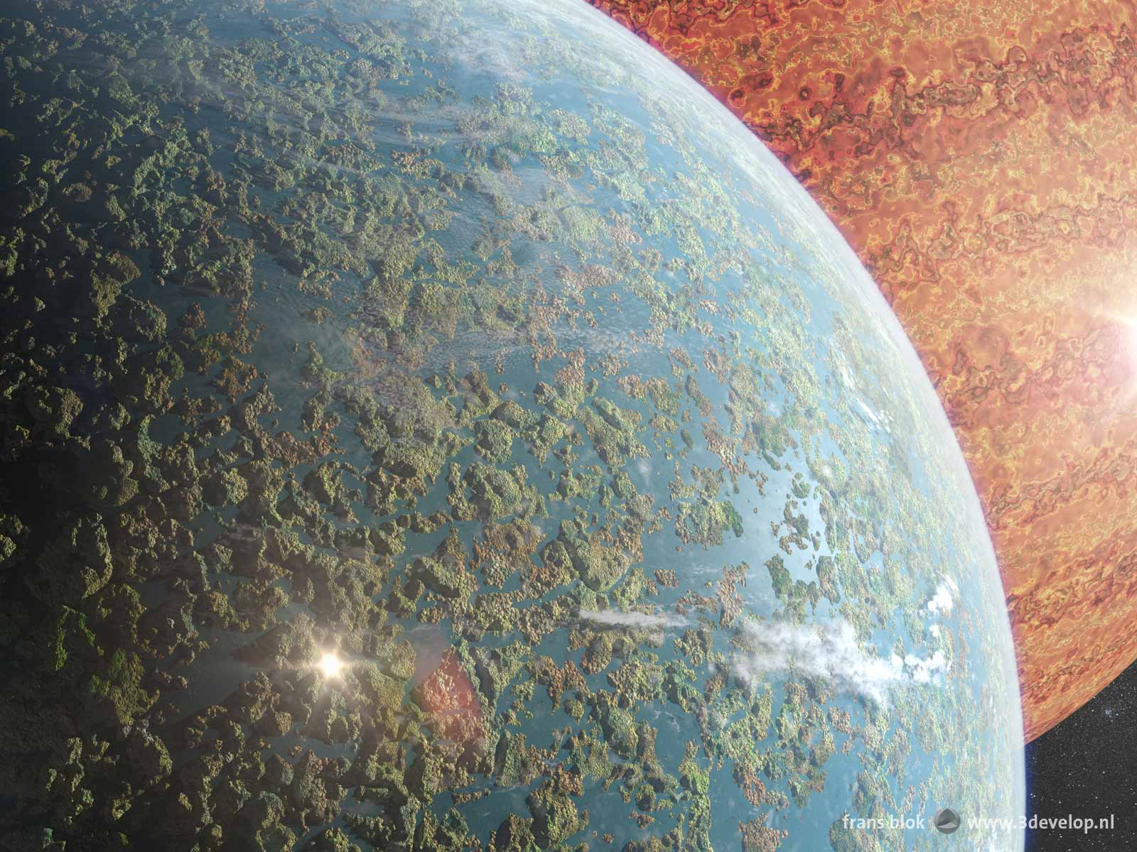 Space art, showing the Earth-like planet Alice with a remarkable landscape full of islands and lakes and in the background gas giant Goliath