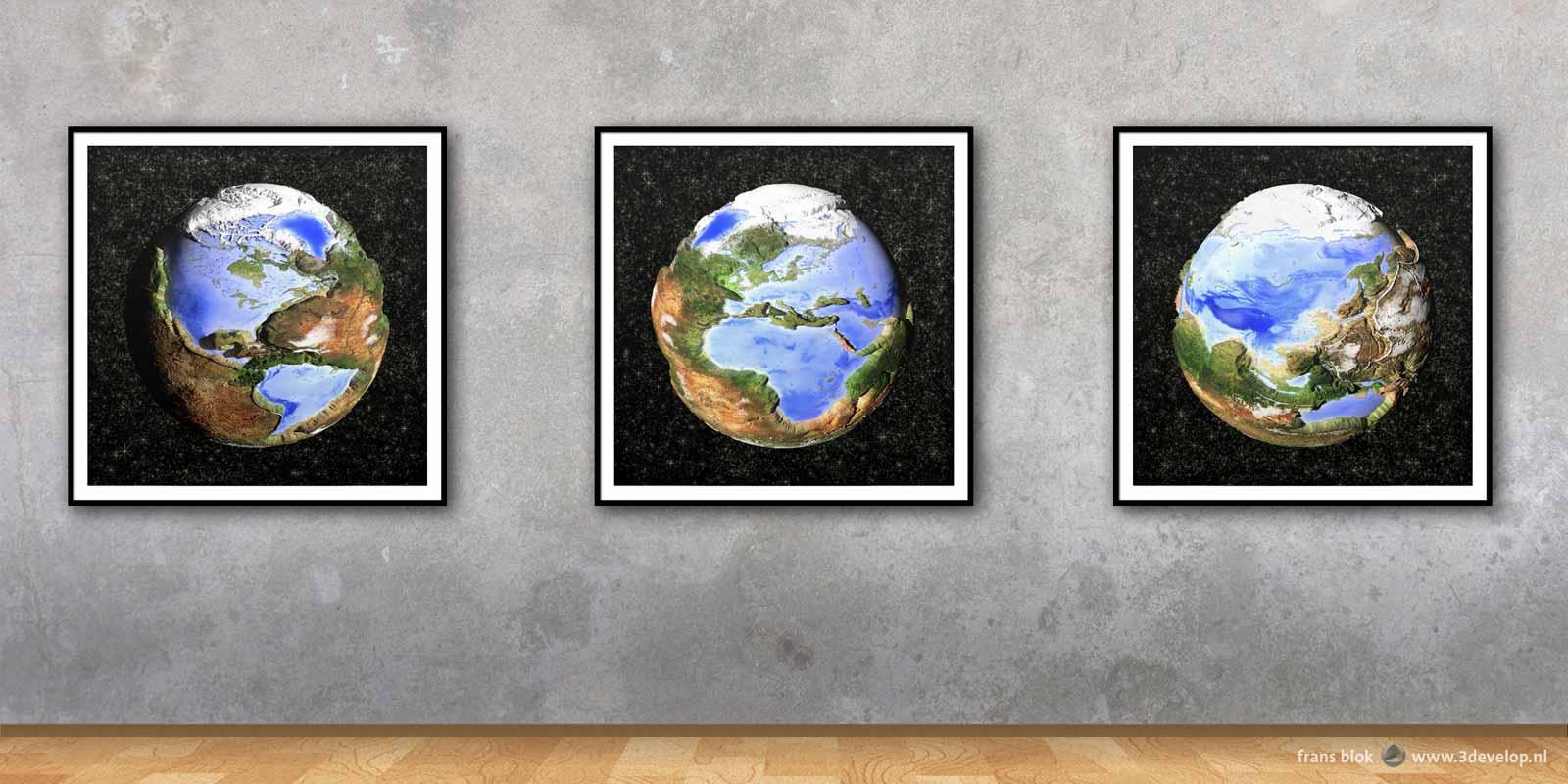 Een drieluik van karikaturale impressies van de Omgekeerde Wereld waarin water land is en land water