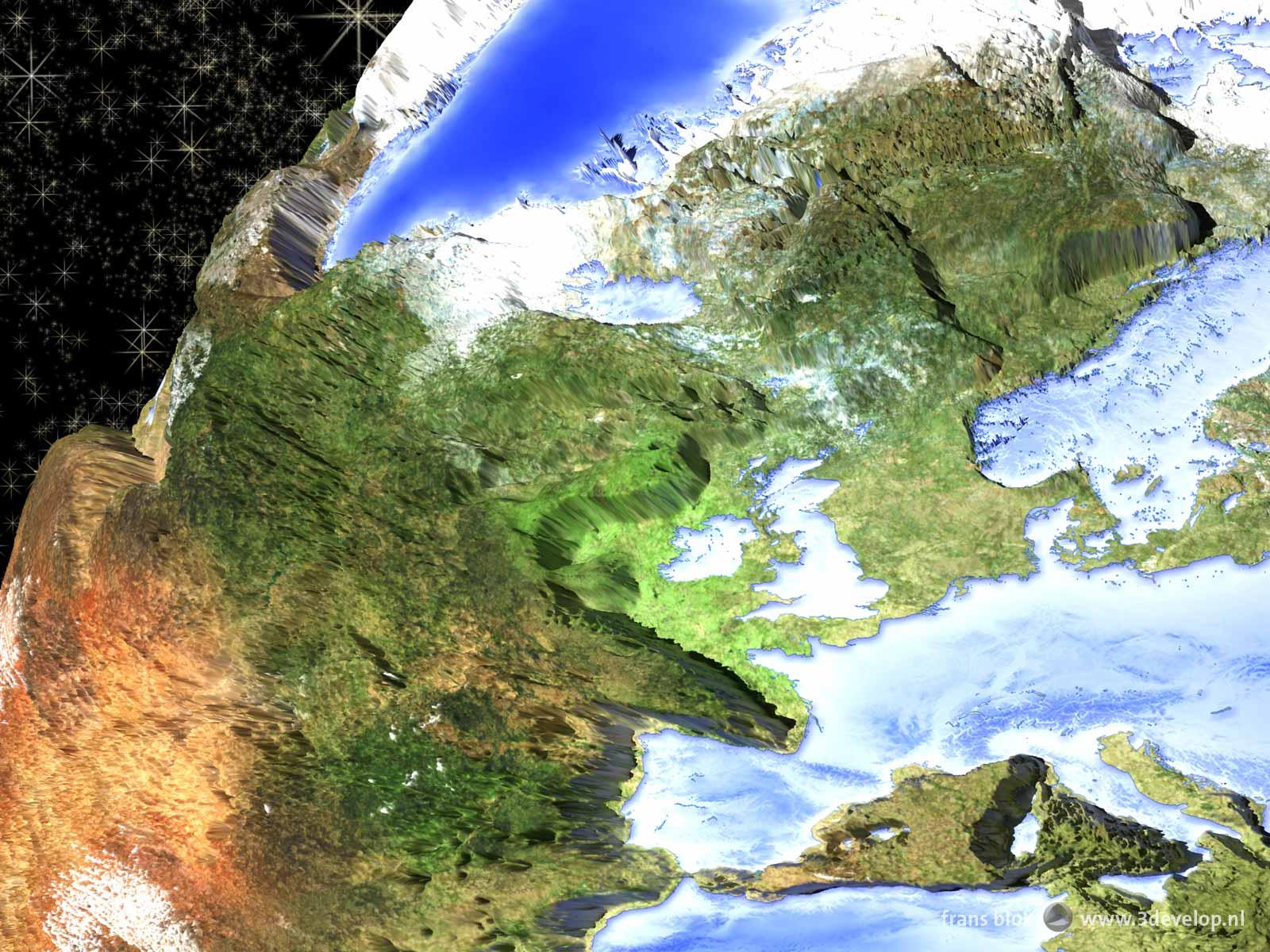 Een detail van de cartoonversie van de omgekeerde wereld, een fantasieplaneet waar continenten oceanen zijn en andersom.