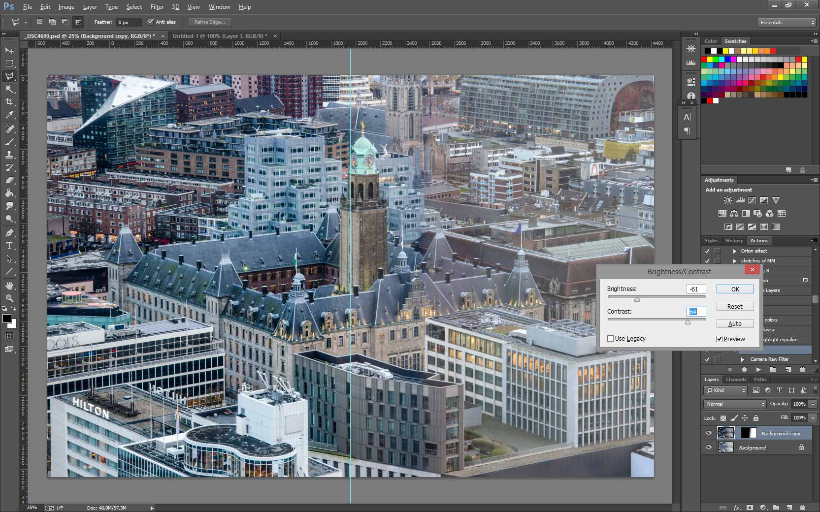 Screenshot from Photoshop while eliminating an annoying reflection from a photo of the Rotterdam town hall