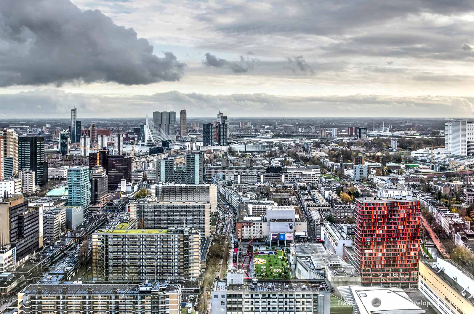 The city center of Rotterdam, seen from the Delftse Poort building in the direction of the Southbank and Erasmus Bridge