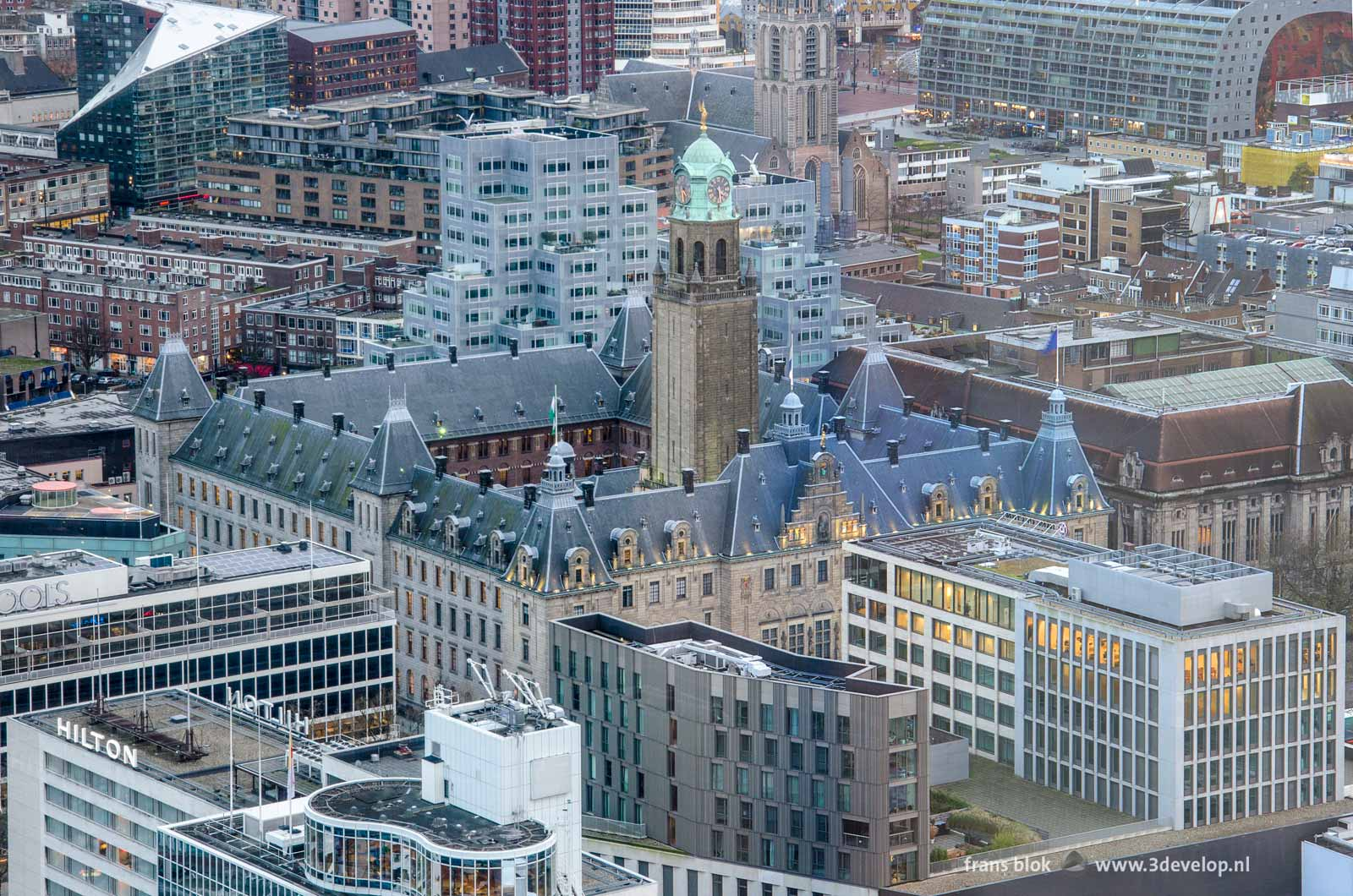 The Rotterdam town hall seen from the Delftse Poort building with behind it Timmerhuis, Saint Lawrence Church and the Markthal