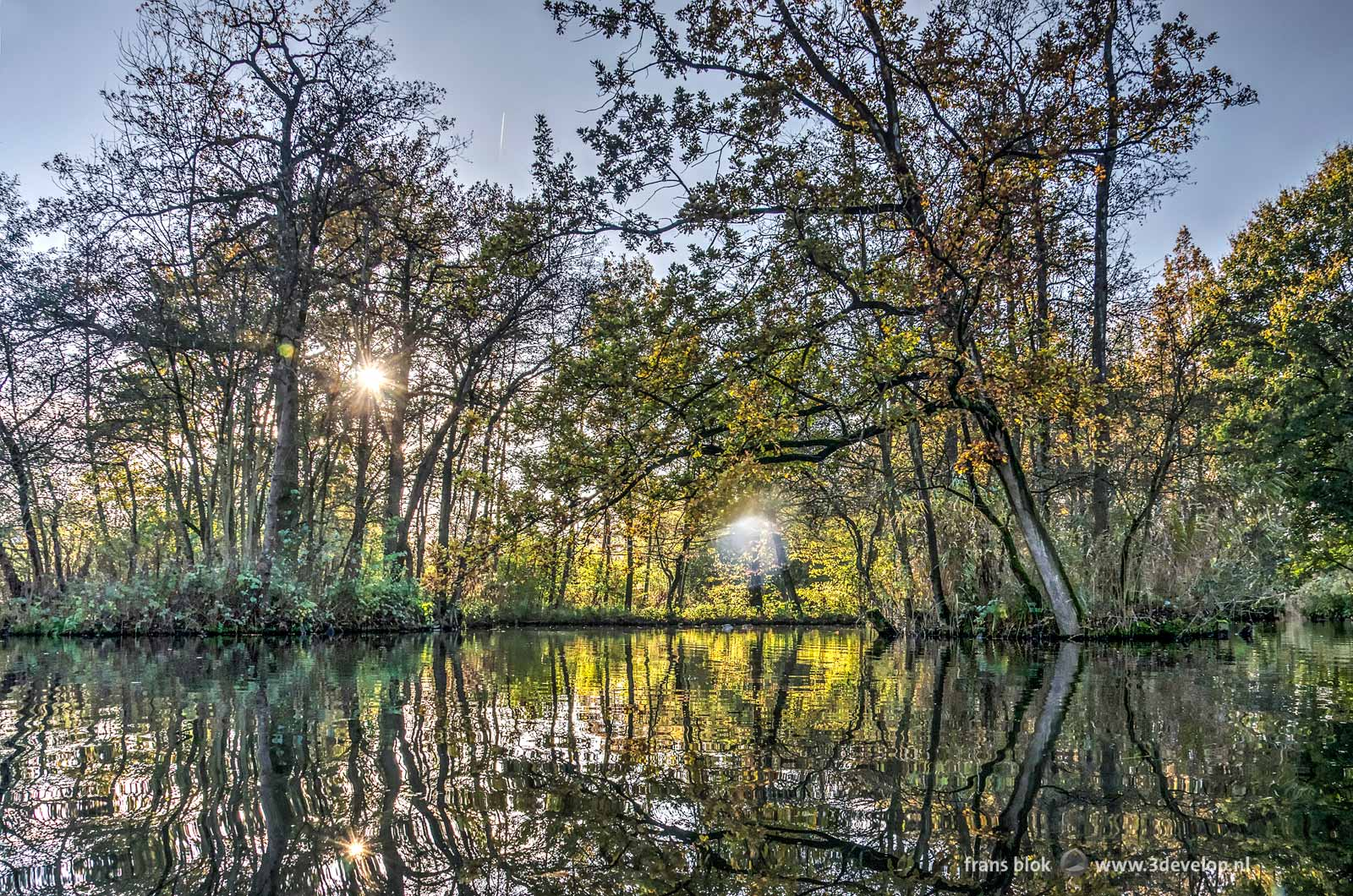 Autumn in the Brediuspark in Woerden, The Netherlands with a low sun and the reflection of trees on the water surface