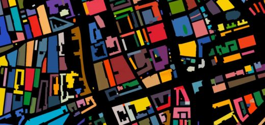 Detail van de kleurenkaart van Rotterdam met het centrum als uitsnede en alle bouwblokken in een willekeurige kleur afgebeeld