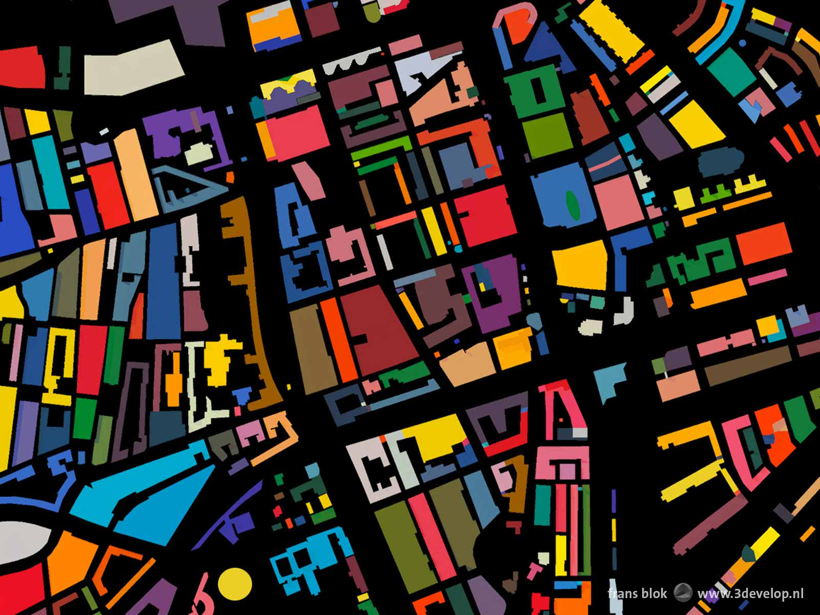 Detail of the Color Map of Rotterdam cropped at the city center with all city blocks drawn in a random color
