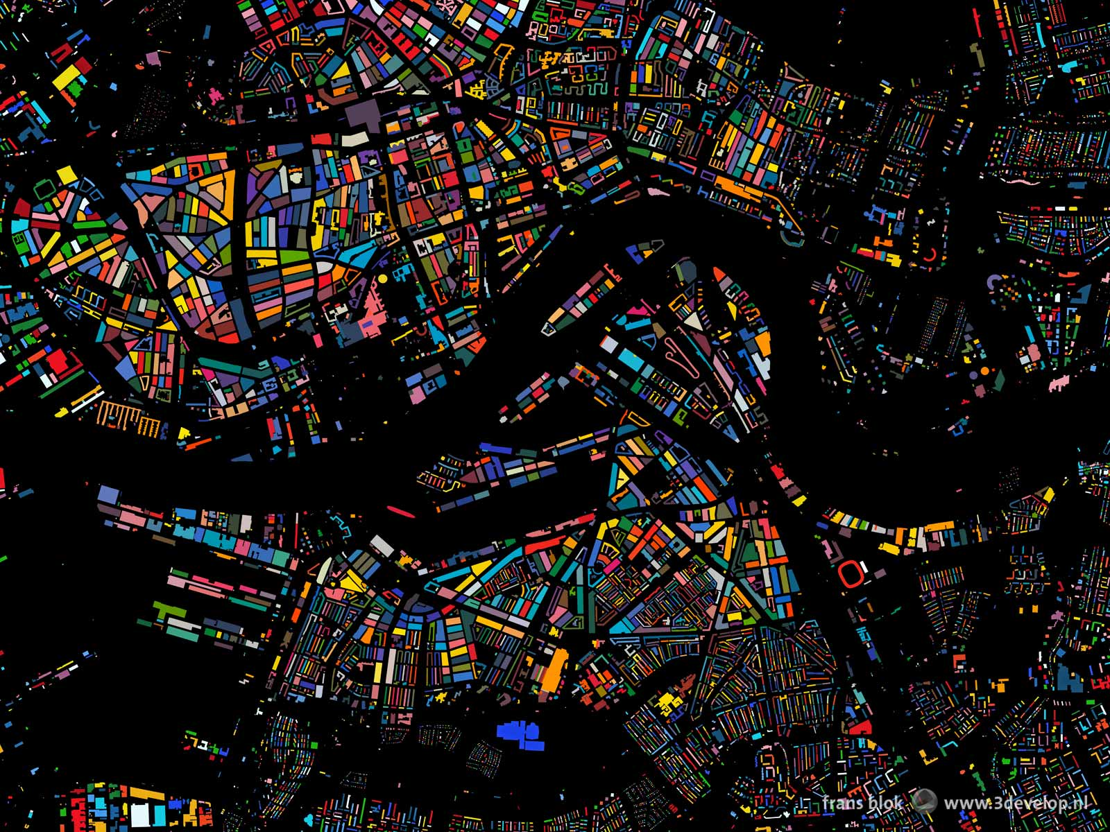 De kleurenkaart van Rotterdam, een plattegrond van het centrum en wijde omgeving met alle bouwblokken uitgevoerd in een willekeurige kleur tegen een zwarte achtergrond