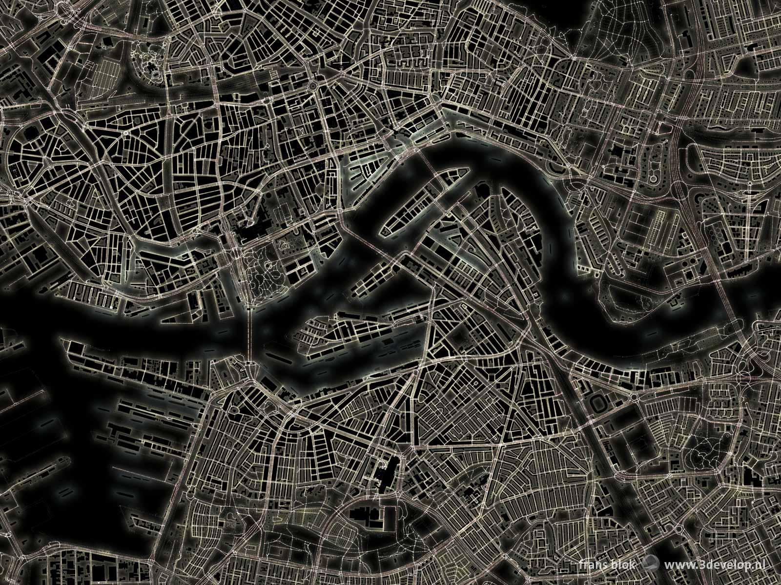 De lichtkaart van Rotterdam, een plattegrond van het centrum en wijde omgeving die de stad laat zien als netwerk van lichte lijnen en plekken tegen een donkere achtergrond