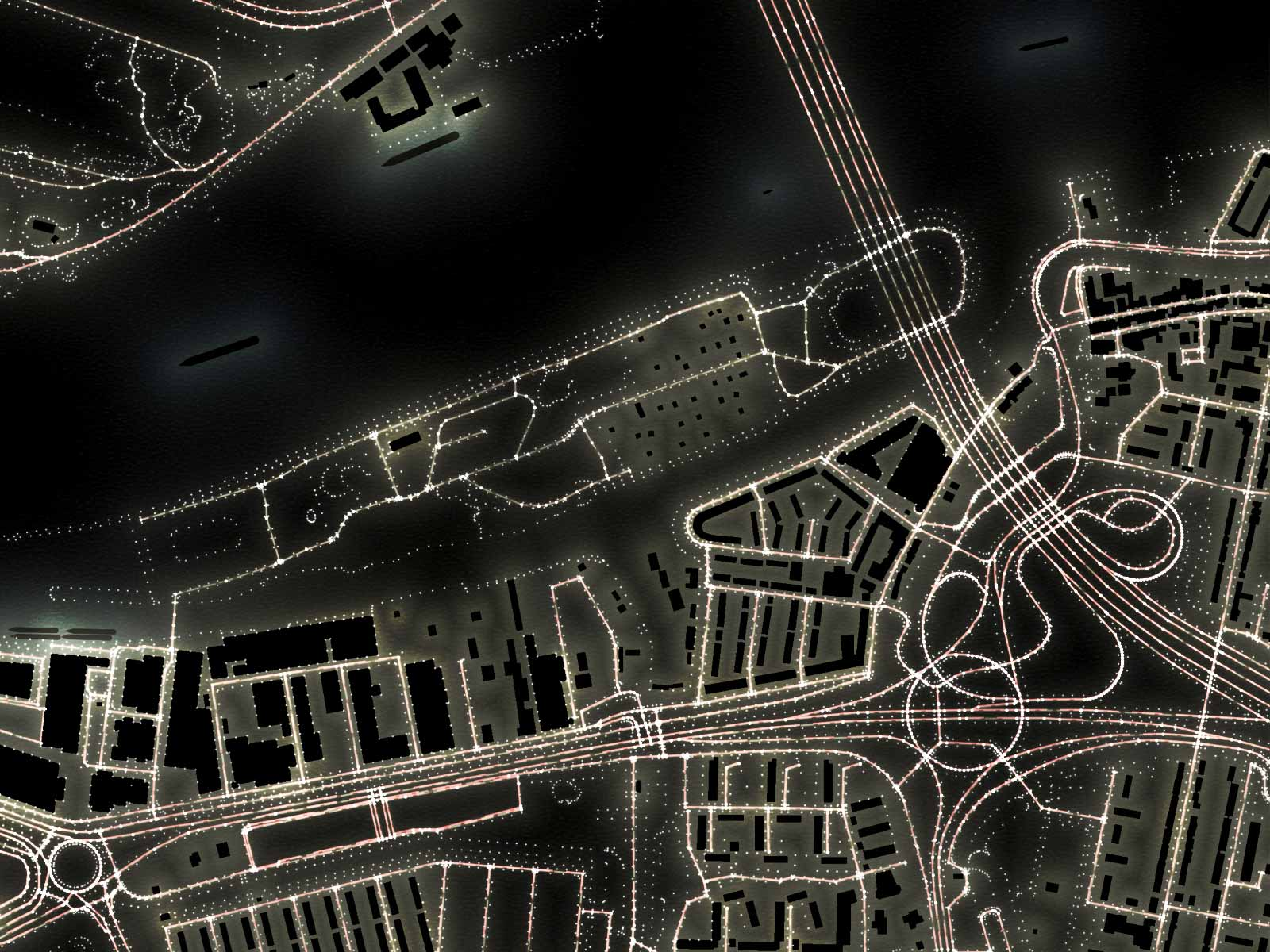 Detail of the Light Map of Rotterdam, zoomed in on Brienenoord Island and surroundings including the bridge with the same name and the adjacent traffic junction