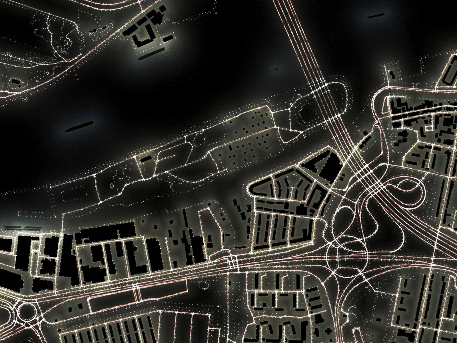 Detail van de lichtkaart van Rotterdam, ingezoomd op het eiland van Brienenoord en omgeving met onder andere de gelijknamige brug met verkeersknooppunt.