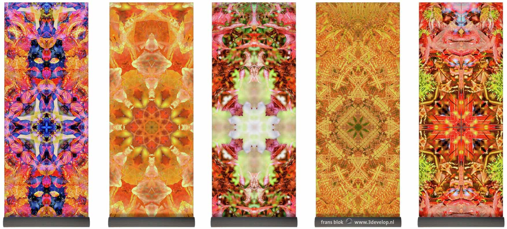 Five yoga mats with colorful harmonious symmetric kaleidoscopic patterns printed on them