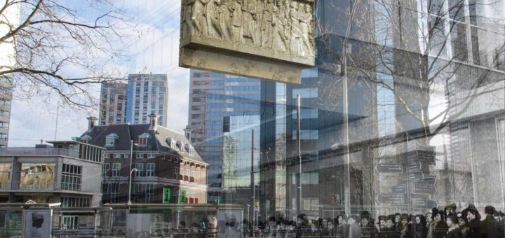 Combination of an old photo of people waiting in line in front of the Bijenkorf department store in Rotterdam with a recent image of the same location on Coolsingel