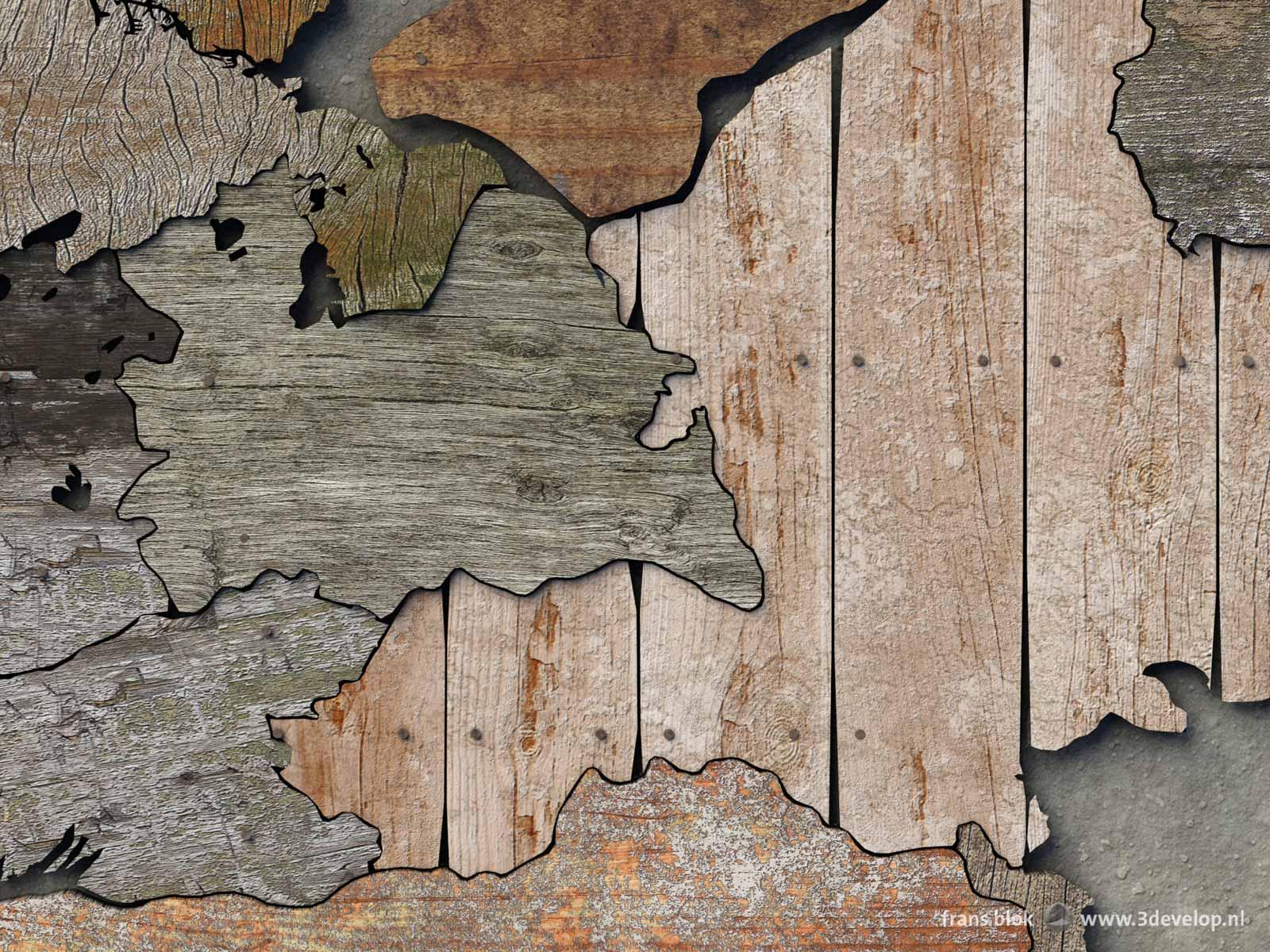 Detail van een kaart van de provincies van Nederland gemaakt van digitaal sloophout, met o.a. Gelderland, Utrecht en omgeving.