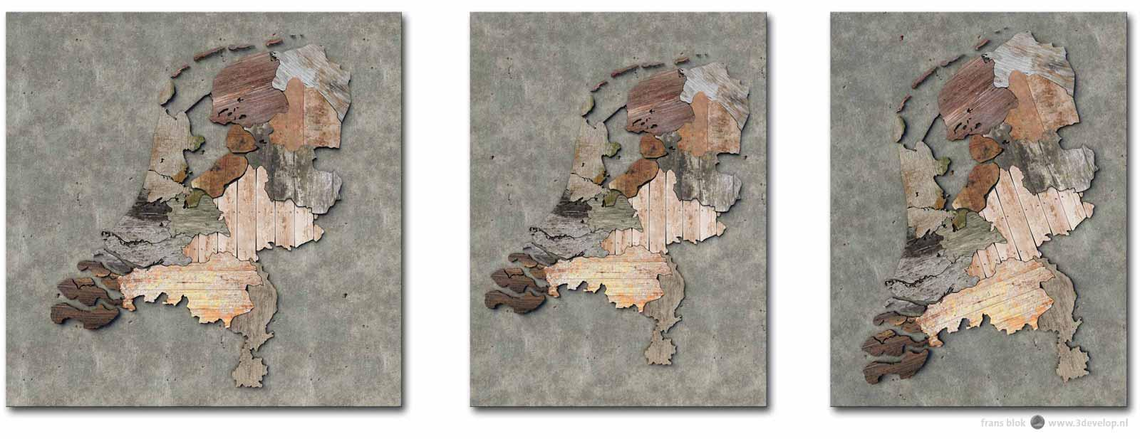Drie verschillende uitsneden van een kaart van Nederland met de provincies uitgevoerd als verschillende stukken sloophout: vierkant, staand rechthoekig en gedraaid