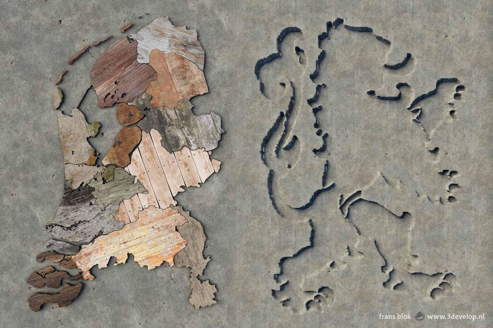 Kaart van Nederland, gemaakt van sloophout en twintig graden tegen de klok in gedraaid met daarnaast de Nederlandse leeuw als terugliggend vlak in het beton van de wand.