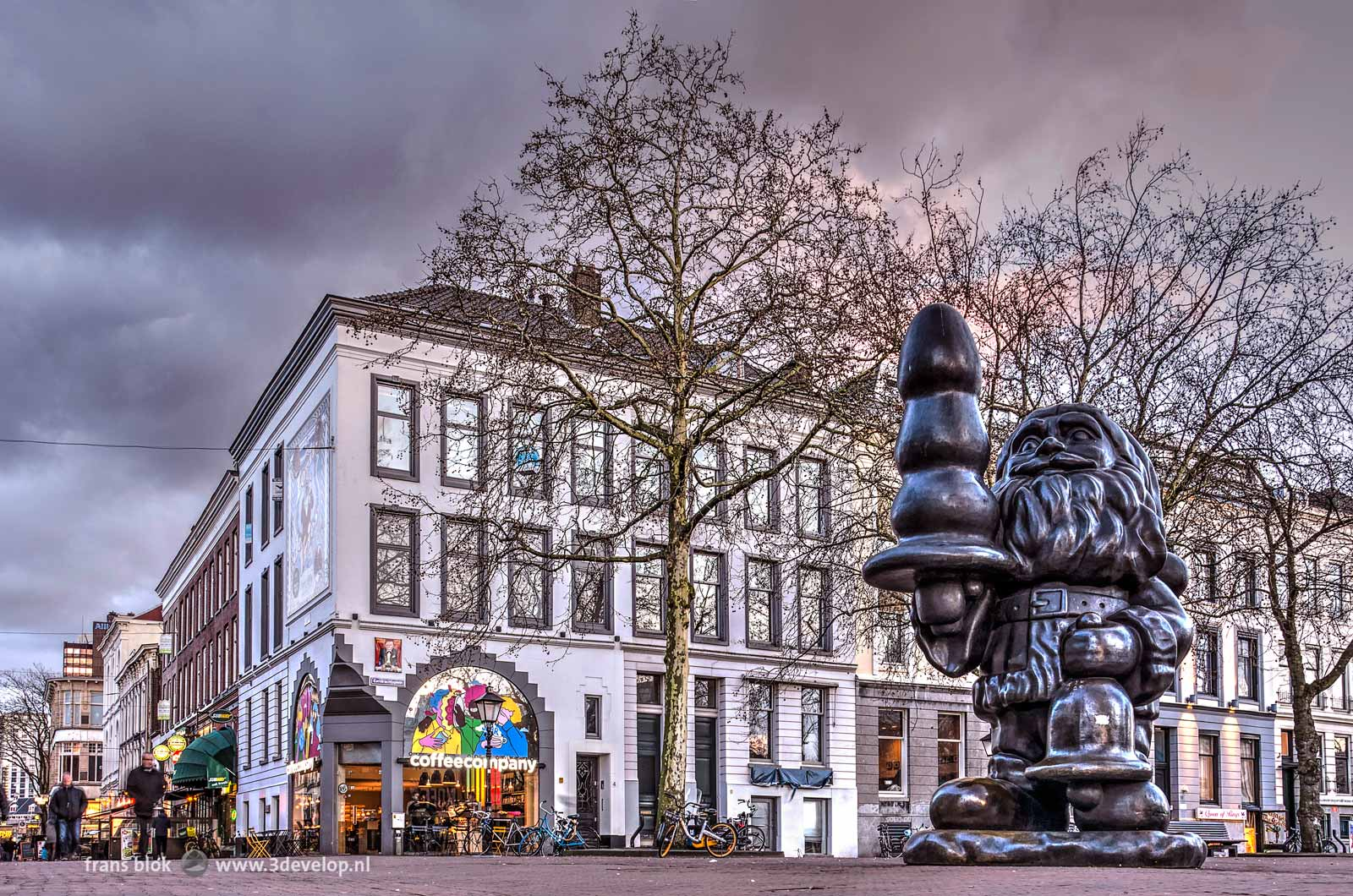 The sculpture Santa Claus, a.k.a. the Buttplug Gnome, by the American artist Paul McCarthy, on Eendrachtsplein in Rotterdam