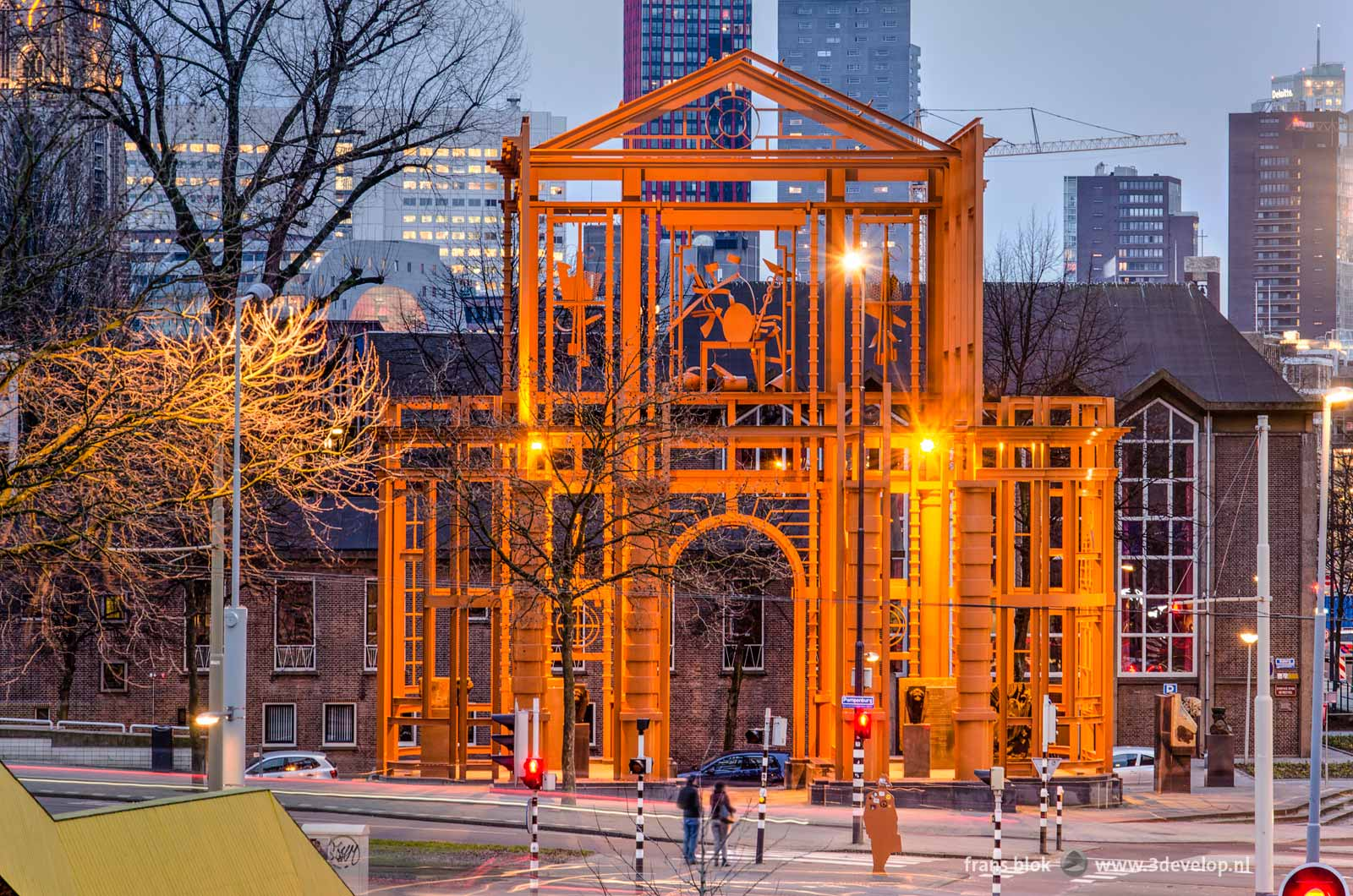 The giant steel sculpture The New Delft Gate by artist Cor Kraat on the corner of Pompenburg aan Haagseveer in Rotterdam