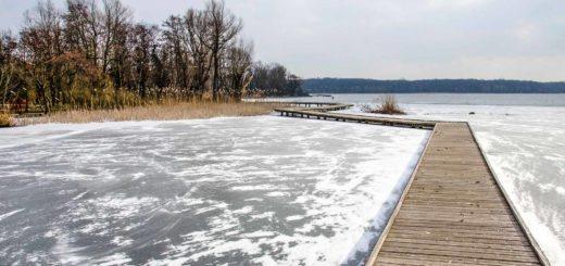 Houten loopbruggen over de bevroren en met stuifsneeuw bedekte Kralingse Plas in Rotterdam